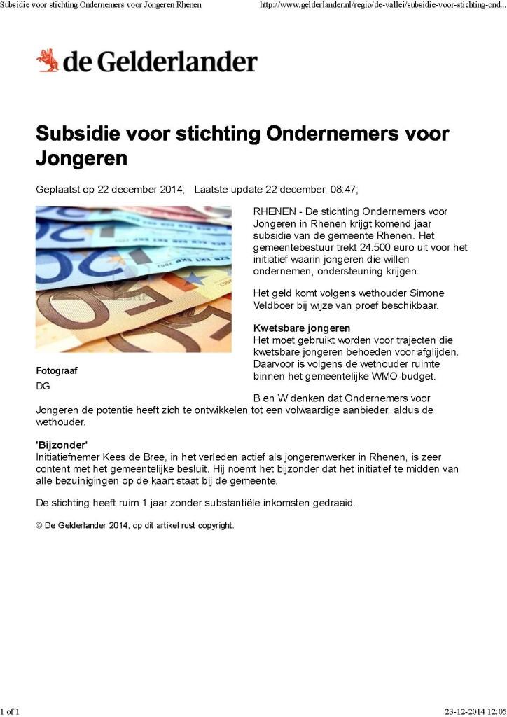 Subsidie voor stichting Ondernemers voor Jongeren Rhenen
